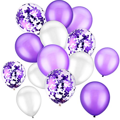 90 Pieces 12 Inch Latex Balloons Party Balloons Confetti Balloons for Birthday Wedding Holiday Party Supplies (White Purple)