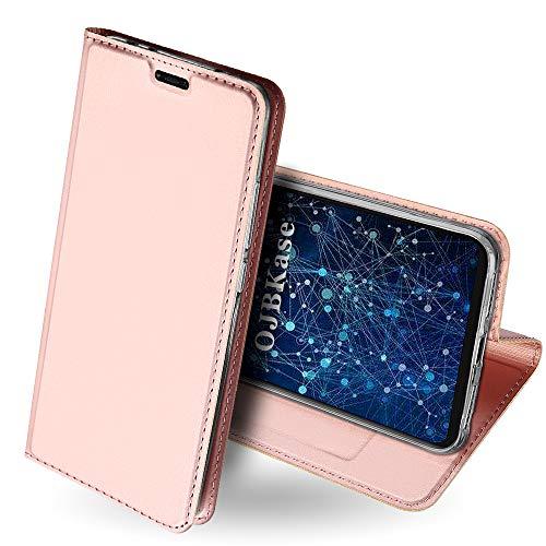 OJBKase Coque Xiaomi Redmi Note 6, Housse Etui en Cuir PU Premium Portefeuille, avec Fonction Support et Languette Magnétique Coque de Maintien en TPU Protection pour Xiaomi Redmi Note 6 (Or Rose)