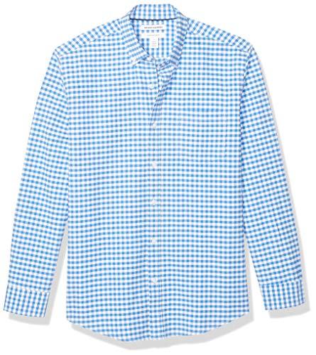 Amazon Essentials Men's Regular-Fit Gingham Long-Sleeve Pocket Oxford Shirt, Blue, Large