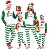 Aibrou Pijamas de Navidad, Conjunto de Pijamas Familiares Navideñas Manga Larga Pijama Familiar a Juego Navidad, Cuello Redondo Camiseta Suelta + Pantalones Pijamas para Padre, Madre, Hija, Hijo