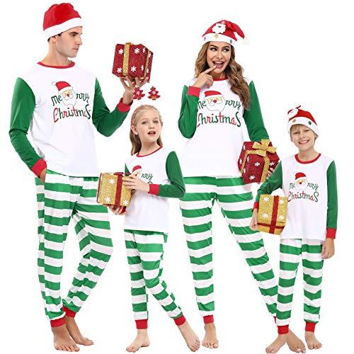 Aibrou Pigiama Natale Famiglia,Natale Pigiama Famiglia Set, Pigiami Natalizi Uomo Donna,Pigiama Natalizio Inverno con Verde Strisce, Pigiama di Natale per Coppia Padre Madre Bambina Figlio Figlia