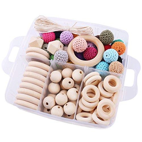Promise Babe 1 Set Wood Nursing Jewelry Wooden Teether DIY Teething Necklace Kit Combination Package Crochet Wooden Beads Wooden Beads Wood Ring Creative Freedom