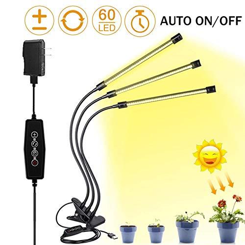 Lámpara de Crecimiento de Plantas de Espectro Completo 30W con AUTO - ON/OFF Timing, luz led para plantas de Interior con 3 modos, 60 LEDs, 6 niveles de iluminación, giratorio 360°.
