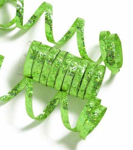 Einfarbige Glitzer Luftschlangen grün