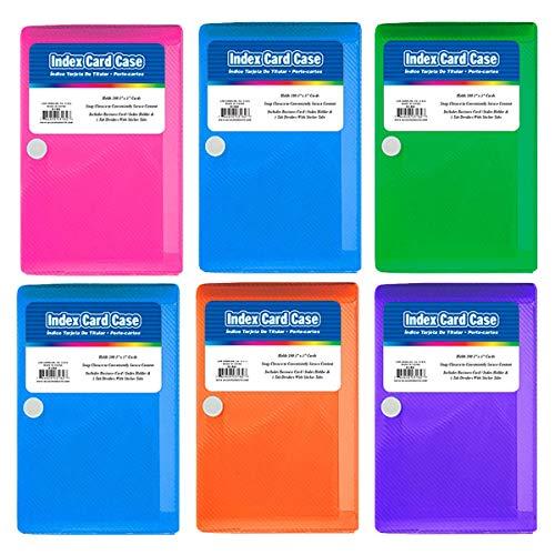 Kicko Index Card Case – Pack de 6 archivadores de 3 x 5 pulgadas con 5 separadores de pestañas, perfecto como material escolar y de oficina, organizador de documentos y cartas, arte y manualidades