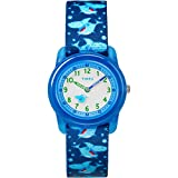 Timex Boys TW7C13500 Time Machines Blue Sharks Elastic Fabric Strap Watch