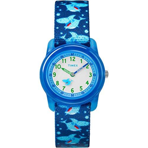 Timex Boys TW7C13500 Time Machines Blue Sharks Elastic Fabric Strap Watch