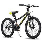 Hiland Climber - Bicicleta infantil de 20 pulgadas, para niños y niñas, horquilla de suspensión de 4-7 años, freno en V, color negro