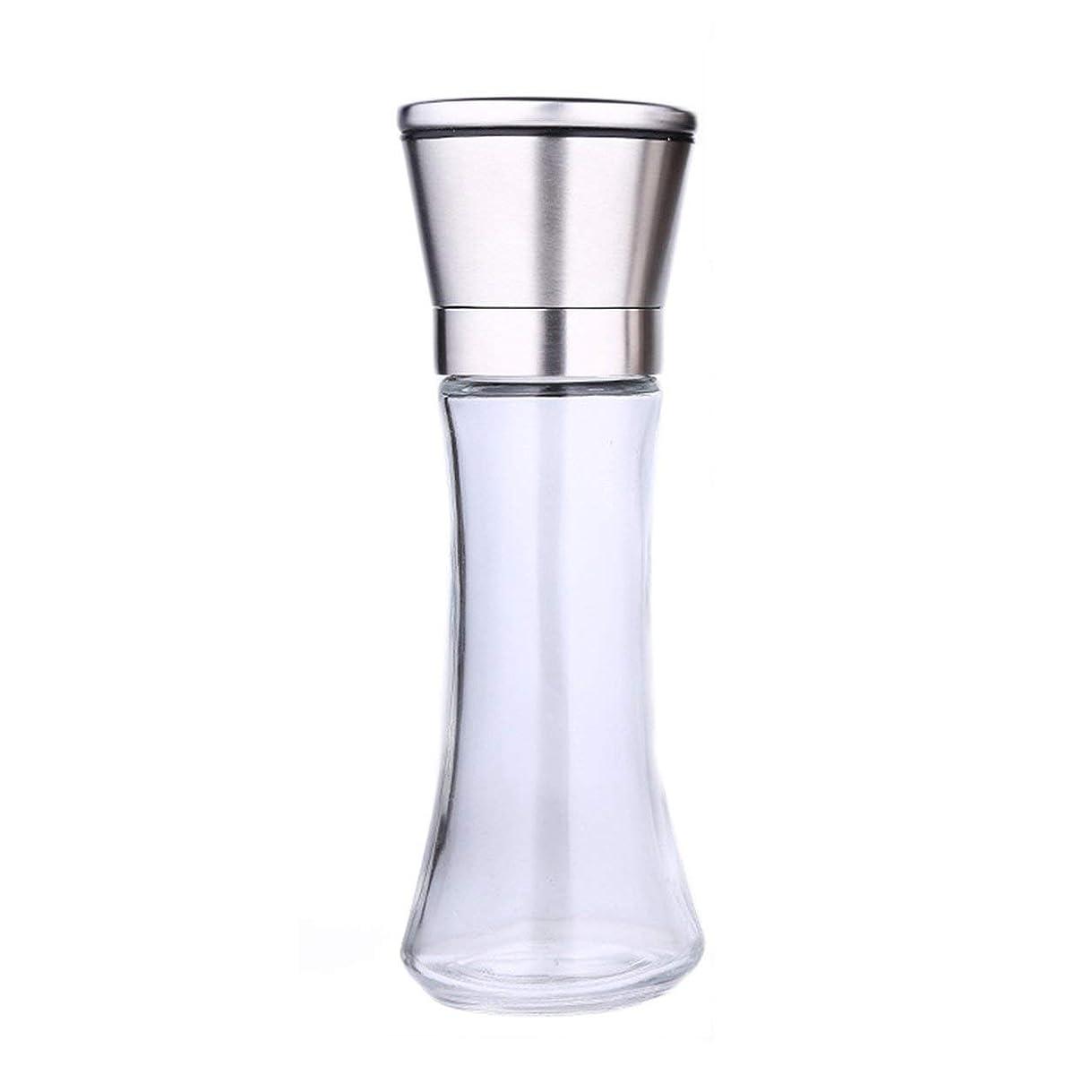 蒸部分的聞くSaikogoods スパイススリムガラス体のためのマニュアル ソルトペッパーミルグラインダーキッチンツール1ピースステンレスミュラーツールクッキングアクセサリー 銀
