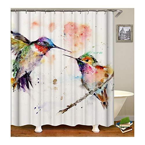 Beydodo Vintage Duschvorhang 180x180 cm 2 Vögel Antischimmel Wasserdicht Duschvorhang