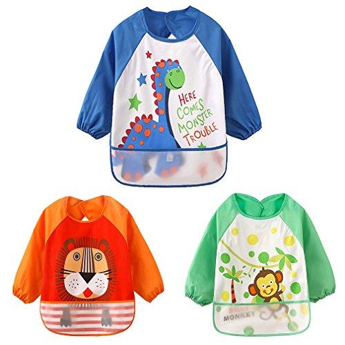 HaimoBurg 3 pezzi Impermeabile Bambino Bavaglino Grembiule con Maniche Lunghe Bambini 6 mesi - 3 anni