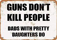 銃は人を殺さない、かわいい娘とのDADSはする、ブリキの看板、ヴィンテージの鉄の絵の金属板ノベルティ装飾クラブカフェバー