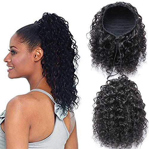 Raw Remy Virgin 100 Human Hair Water Wavy Curly Hair Piece Clip-in Top Closure Natural Ponytail Hair Extension Wet& Wavy Curly Drawstring Puff Ponytail Hairpiece 18'inch Natural Black
