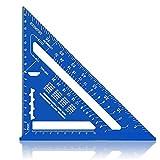 Escuadra de Carpintería Métrico 7 Pulgadas,Aleación de Aluminio,Regla Triangular Herramienta de medición para Carpintero (azul)