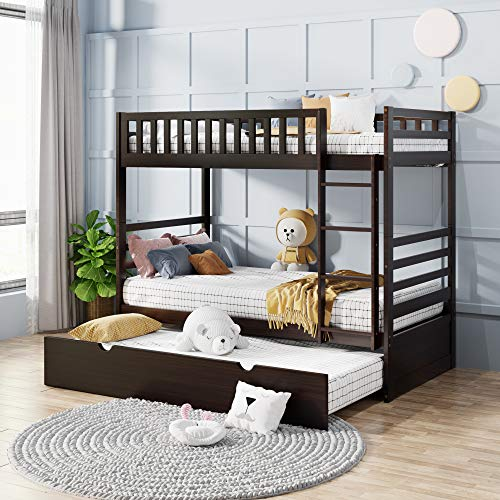 Merax Twin Bunk Beds for Kids Twin Over Full Bunk Beds with Ladder and Safety...