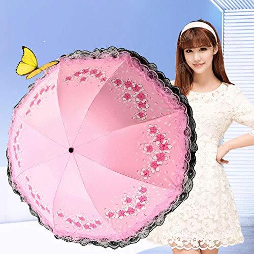 Sonnenschirm Regenschirm Double Layer Lace Flower Umbrella Regnerischer Hochzeitsschirm Für Frauen Männer Uv Faltbare Winddichte Regenschirme Sonnenschirm Geschenk Pink