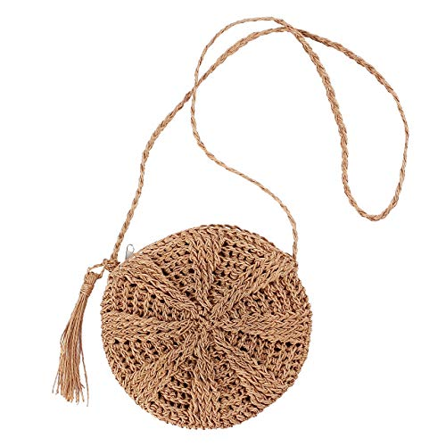 CHIC DIARY Women Straw Bag Crossbody Handmade Woven Summer Beach Top Zipper Shoulder Purse with Tassel (Khaki)