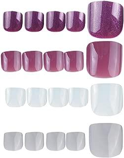 96Pcs Colorful Fake Toe Nails Full Cover Brightening Oil False Gel Nails Foot Art Tips Sets (Bean Paste Grey White Series)