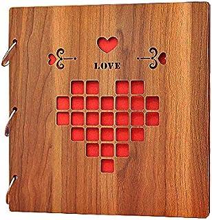 BEST-ENCOUNTER 12inch Wood Vintage Hollowed Photo Image Album Scrapbook Memory Within Corner Sticker (Wood Love)