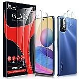 TAURI 6 Pack Protector de Pantalla para Xiaomi Redmi Note 10 5G/Poco M3 PRO(No Note 10 4G)y 3 Pack Cristal Templado y 3 Pack Protector de Lente de Cámara - Sin Burbujas Dureza 9H Kit Fácil instalación