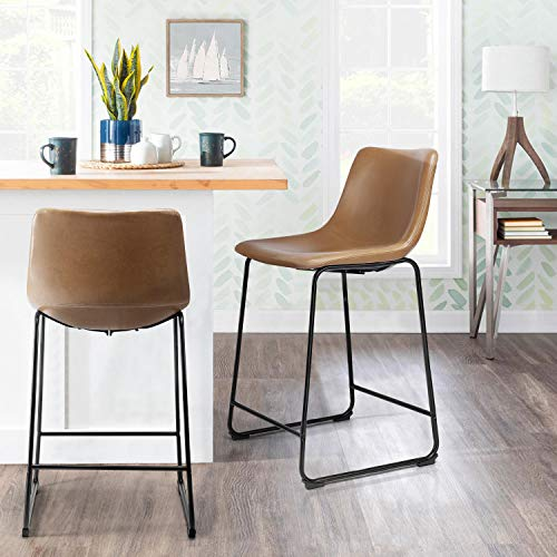 """BOSSIN 26"""" PU Leather Bar Stools Metal Legs Chair Counter Height Stools Upholstered Metal Armless Stools with Backrest for Home Office Kitchen Pub Restaurant Cafe, Set of 2 (Whisky)"""