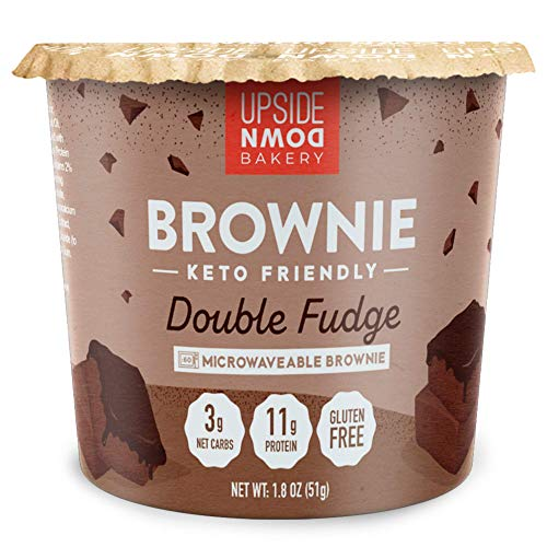 Keto Brownie Cup by Upside Down Bakery - Chocolate Fudge (3 Net Carbs) - High Protein Snack, Microwavable Mug Cake Dessert - Just Add Water - 1g Sugar - Gluten Free - Single Serve Cups (6 Pack)