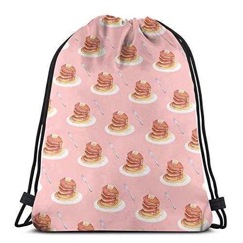 Dutars Pancake-Muster Kordelzug Tasche Schultertasche Druck Rucksack Reisetasche Gym Beutel Kordelzug Rucksack leicht für Reisen Gym Yoga Aufbewahrung Geschenk