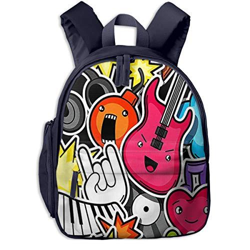 Mochila para Niños Dibujos Animados Rock Música Pop, Mochila Escuela Primaria De Edad Peso Ligero Pérdida Mochila De Viaje para Chico Chica