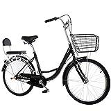 MC.PIG Lady Classic Bike With Basket -24 Inch Lightweight Adult City Bicycle Bicicleta de ciudad de aluminio, estilo retro Bicicleta holandesa con cesta Adecuado para estudiantes masculinos y femenino