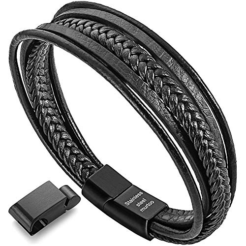 murtoo Womens Bracelets Braided Leather, Multilayer Genuine Leather Bracelet for Women (Black 7.7')