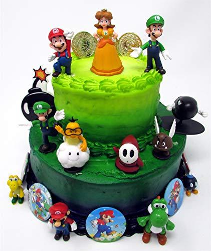 Mario Brothers Birthday Party 22 Piece Mario Birthday Cake Topper Featuring Mario, Luigi, Bullet, Toad, Mushroom, Goomba, Koopa, Shy, Bomb, Lakitu Spiny, Mario Coins, Large Bomb, and 6 Mario 1' Decorative Buttons