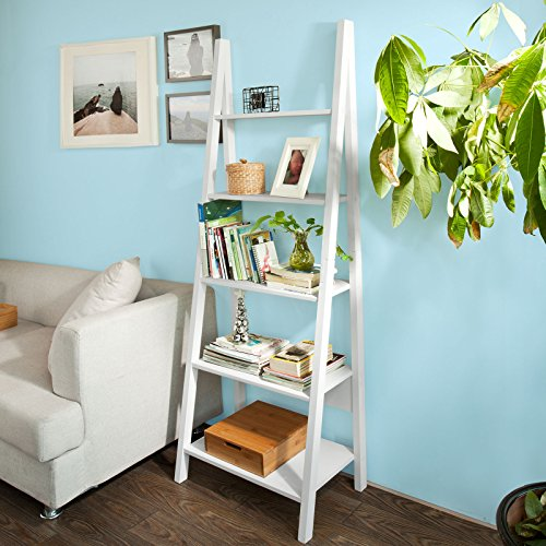 Haotian FRG61-W, Modern 5 Tiers Ladder Shelf Bookcase, Wood Storage Display Shelving, Wall Shelf, W64xD39xH180cm, White