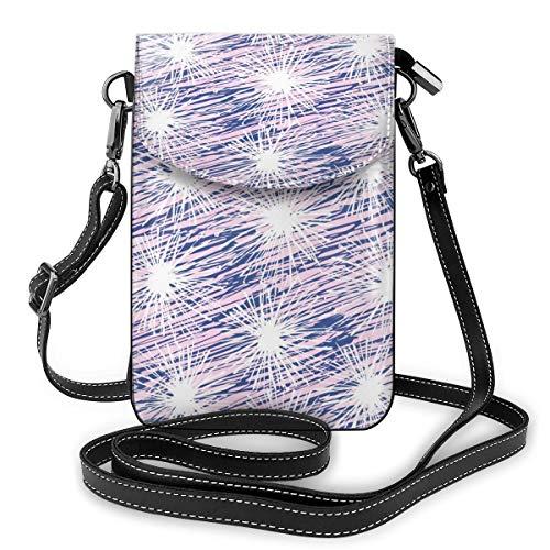 Damen Handtasche mit verstellbarem Riemen, Pusteblumen-Motiv, Weiß