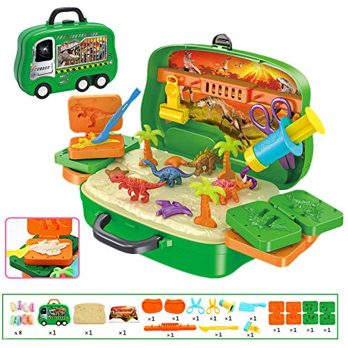 Deardeer Play Dough Dinosaur Set Clay Dino World Pretend Play Toy Dough and Moulds in a Portable Case with Wheels for Kids - 26PCS