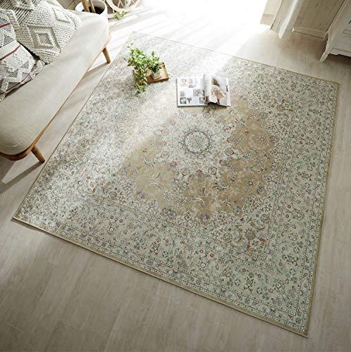 グラムスタイル ペルシャ 絨毯風 洗える ラグ カーペット 1.5畳 130x190cm ベージュ