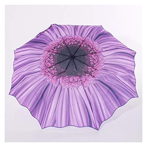 Paraguas Girasol Tri-Doble Regalo Paraguas UV Paraguas Doble Pliegue Creativo Girasol Paraguas Umbrella Lluvia Mujeres (Color : Purple)