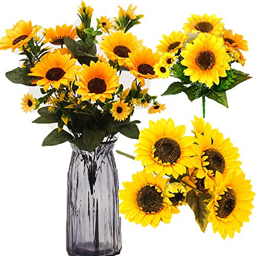 Partyhome Home Decoration 2/4 Bunches Yellow Sunflower Silk Artificial Flowers Bouquet for Office Wedding Party Garden Decor (Big)