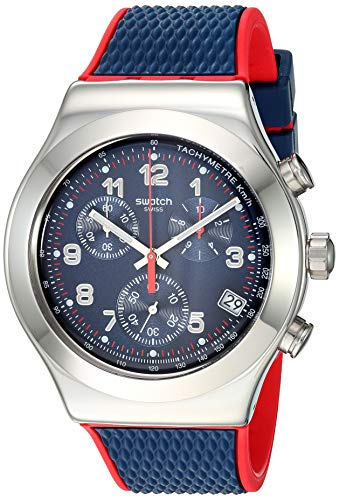 Swatch 1901 Irony Stainless Steel Quartz Rubber Strap, Blue, 20 Casual Watch (Model: YVS452)