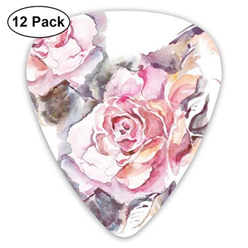 Slaytio 12-teiliges Gitarren-Plektrum, gezeichnet mit rosa Blumen und Blättern, 0,96 mm, 0,71 mm, 0,46 mm, Mode für Gitarre, Mandoline und Bass, für E-Gitarre, E-Gitarre