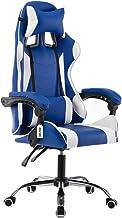 Cadeira gamer reclinável em 70° com ajuste lombar azul e branca V706