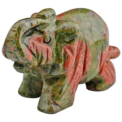 mookaitedecor Unakite Crystal Elephant Sculpture Statue Crafts Healing Reiki Pocket Gemstone Figurines 1.5 Inch
