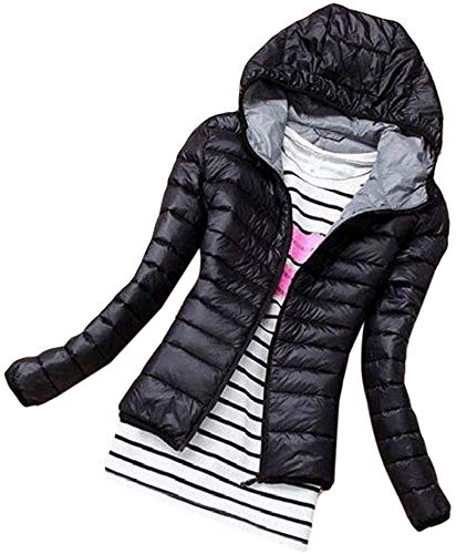 CHEXPEL Women Casual Coat Hooded Lightweight Padded Quilted Zip-Up Puffer Jacket