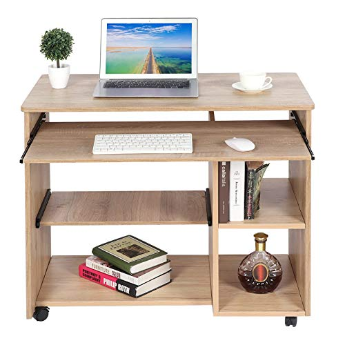 Mobiler Schreibtisch Computertisch mit Tastaturablage und offenen Fächern Laptoptisch Arbeitstisch Computer Tisch Workstation mit 5 Rädern, 88,5 x 48 x 74,5 cm