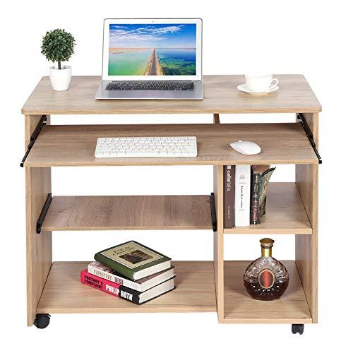 Estación De Trabajo De Mesa para Computadora Móvil De Aglomerado con 5 Ruedas, Accesorio para Muebles De Oficina En Casa, Escritorios para Trabajar En Casa