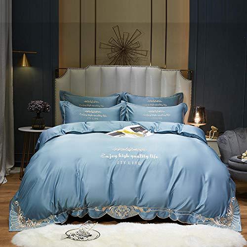 Asbecky Sábanas De Verano Lisas Satin Silk Duvet Funda Hoja de la Hoja Double Tamaño 4 PCS - Suave Luxury Silky - Toda la Temporada-Azul_Hoja de Cama de 180cm +