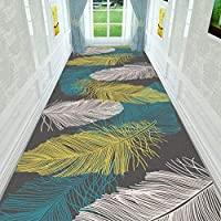 ラグ・カーペット フェザー廊下カーペットランナーラグ色とりどり現代洗えるノンスリップキッチンユーティリティホール長いランナードアマット敷物、カスタムは、任意のサイズを作りました (Color : A, Size : 0.9x3m)