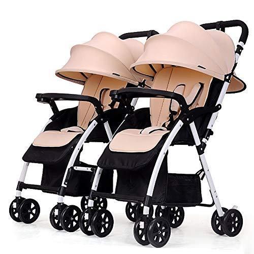 TY-Baby trolley Mmm @ Poussette jumeau, Chariot de bébé Pliable léger détachable de Double Chariot Infantile Chariot ( Color : Kaki )