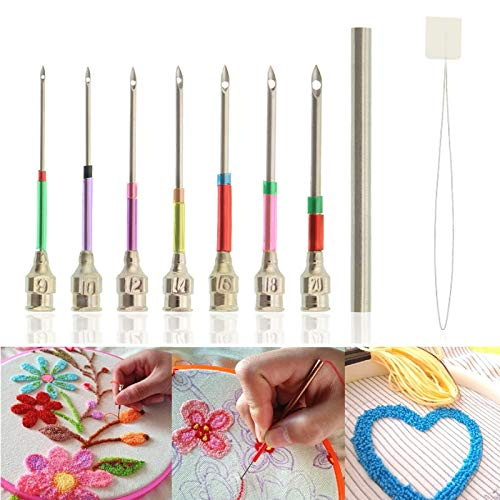 Yangood 9 Piece Sets Embroidery Stitching Punch Needles with Needle Threader, Punch Needle Tool Kit With Various Needles, Sewing Cross Stitching Weaving Tool (A)