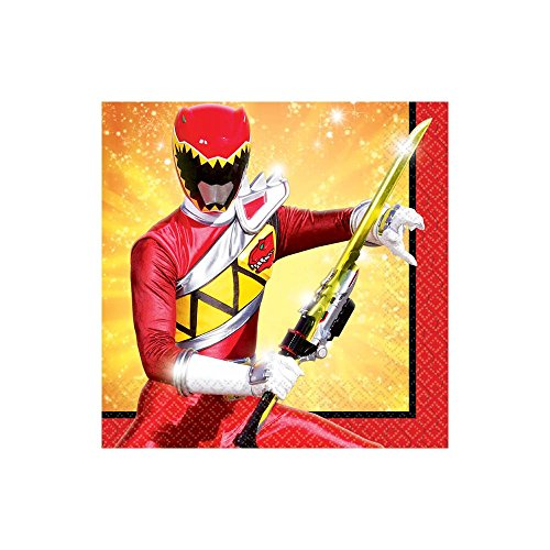 Amscan Power Rangers Dino Charge Birthday Party Beverage Napkins Tableware , 5 x 5, Red by Amscan