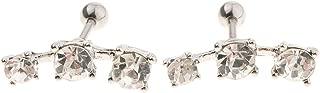 F Fityle 1Pair Elegant Women Ear Stud Tragus Wrap Earrings Crystal Piercing Barbell - 1.2mm